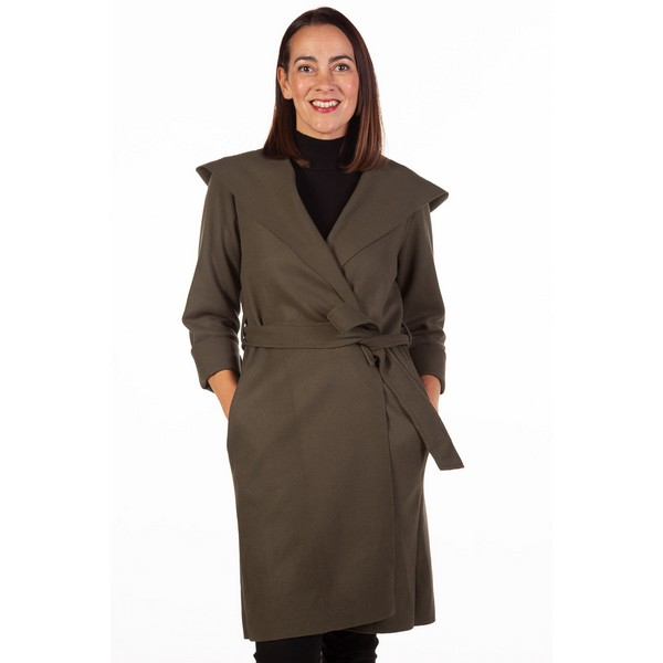 Fizz Khaki Edge To Edge Belted Coat One Size Khaki
