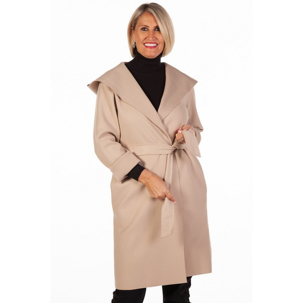 Fizz Stone Edge To Edge Belted Coat One Size Stone