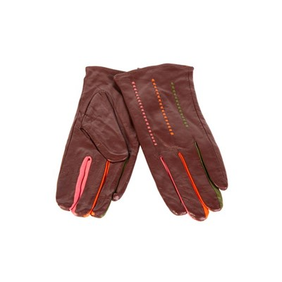 Fizz Brown Leather Gloves with Coloured Fingers