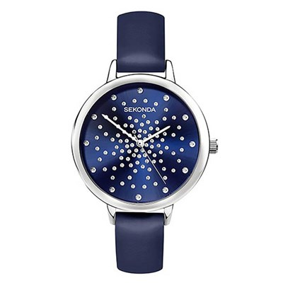 Sekonda Ladies Edition Blue Watch with Genuine Leather Strap