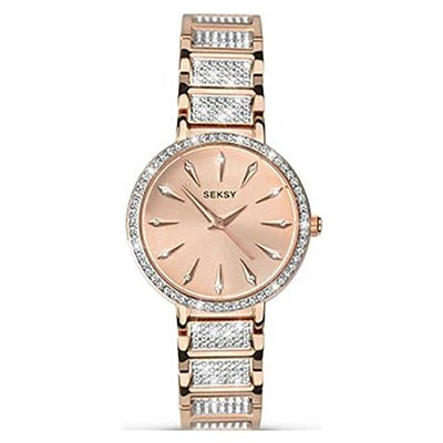 Seksy Ladies Rose Gold Jewelled Fashion Watch with Stainless Steel Bracelet