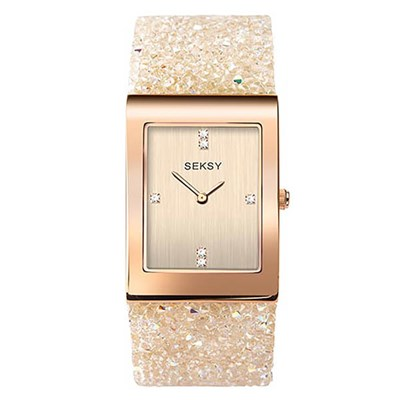 Seksy Ladies Jewelled Fashion Watch with Rose Gold Bracelet