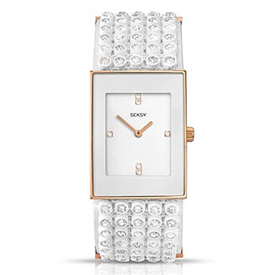 Seksy Ladies Fashion Jewelled Watch with White Leather Strap