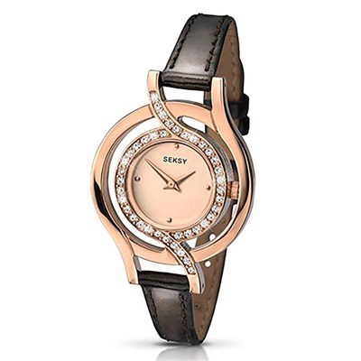 Seksy Ladies Twist Rose Gold Dial Watch with Leather Strap