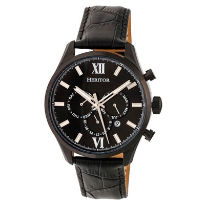 Heritor Gents Benedict Automatic Watch on Genuine Leather Strap