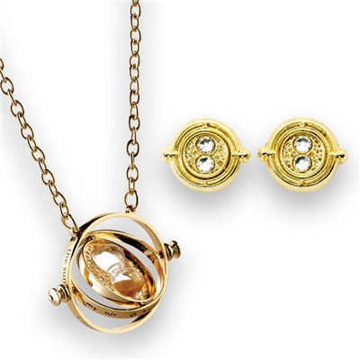 Harry Potter Spinning Time Turner Necklace and Stud Earring Set