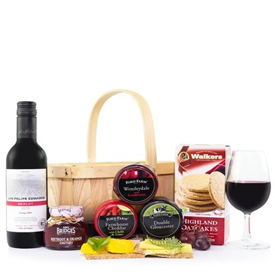 Cheese And Wine Handmade Basket Selection Hamper