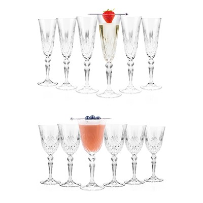 RCR Melodia Crystal Wine Glasses & Champagne Flutes (6 Pack of Each)