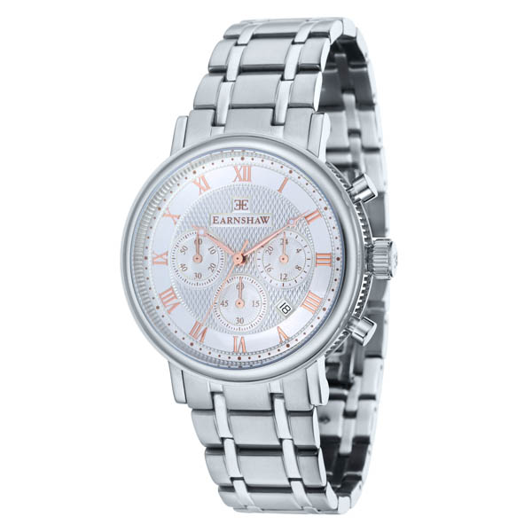 Thomas Earnshaw Gent's Longcase Chronograph Watch with Stainless Steel Bracelet & Complimentary Gift Silver