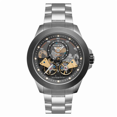 Nubeo Gents Ltd Ed Voyager Automatic Open Heart Watch with Stainless Steel Bracelet