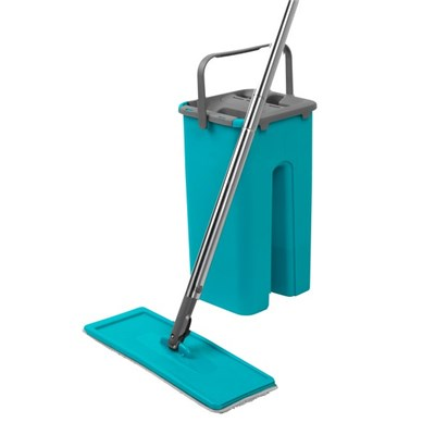 Beldray Duplex Flat Head Mop and Bucket Set - Turquoise/Grey