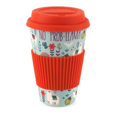 Cambridge Llamas Folk Reusable Travel Mug - Red