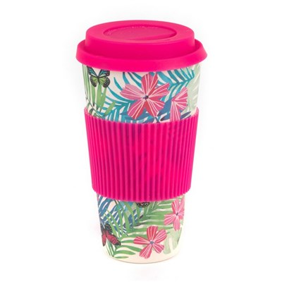 Cambridge Tropical Forest Large Reusable Travel Mug - Pink - 20oz / 560ml