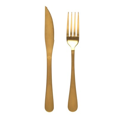 Salter 12-Piece Steak Knife and Fork Set - Stainless Steel - Gold