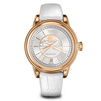 Aviator Ladies Douglas DC-3 Moonfight Moonphase Watch with Genuine Leather Strap