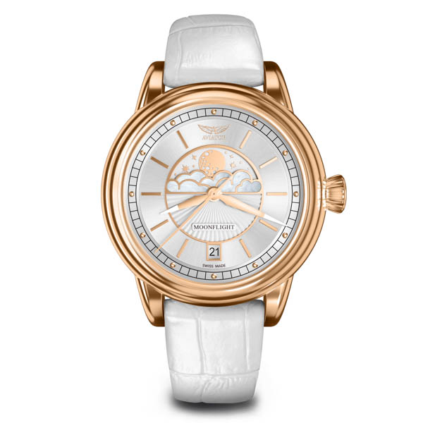 Aviator Ladies Douglas DC-3 Moonfight Moonphase Watch with Genuine Leather Strap White