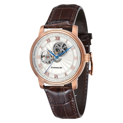 Thomas Earnshaw Gent's Alchemist Open Heart Watch with Genuine Leather Strap & Complimentary Gift