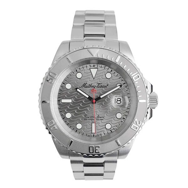 Mathey Tissot Gents Swiss Ronda Rolly Wave Dive Watch with Stainless Steel Bracelet Grey