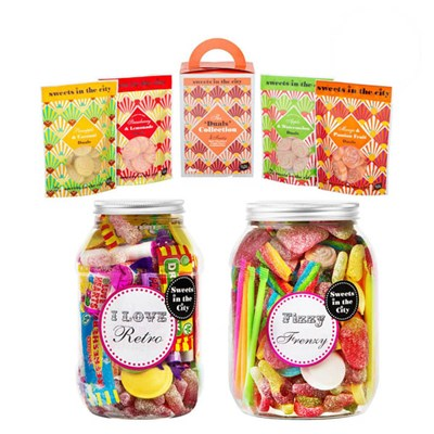 Sweets in the City Gifting Trio I love Retro Jar of Joy, Giant Fizzy Frenzy Jar of Joy and Vegan Carry Carton (inc. 4 x 50g bags)