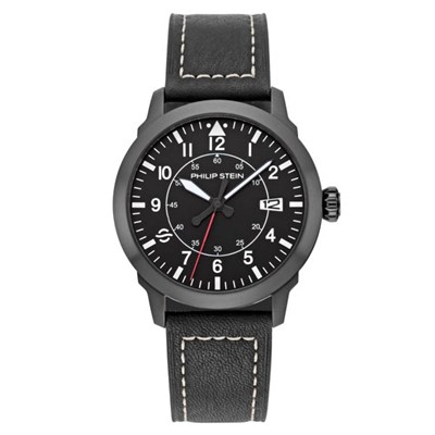 Philip Stein Gent's Skyfiinder Watch with Brushed Finish Black PVD Case