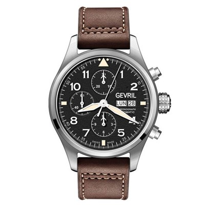 Gevril Gents Ltd Ed Vaughn Swiss Automatic Chronograph ETA 7750 Watch with Genuine Leather Strap