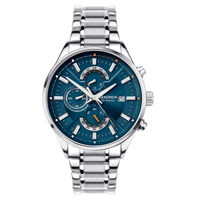 Sekonda Gents Dual Time Watch with Stainless Steel Bracelet