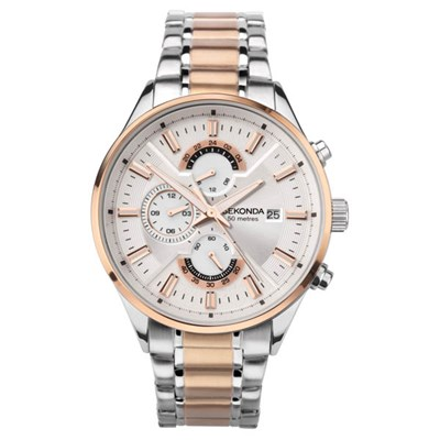 Sekonda Gents Dual Time Watch with Two Tone Stainless Steel Bracelet