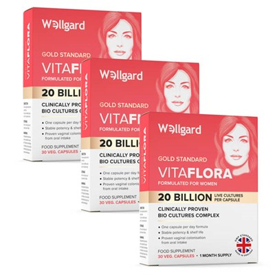 Wellgard Vitaflora Bio Cultures Complex Food Supplement for Women 3 x 30-Capsule Packs (90 days)