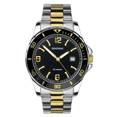 Sekonda Gents Sports Watch with Two Tone Stainless Steel Bracelet