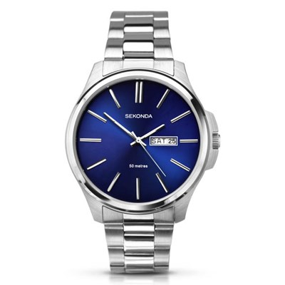 Sekonda Gents Classic Blue Dial Watch with Stainless Steel Bracelet