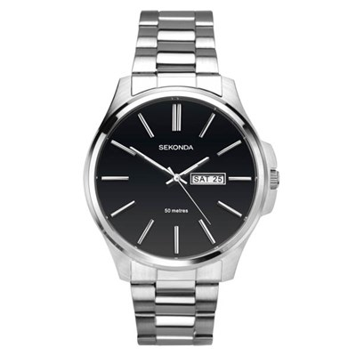 Sekonda Gents Classic Black Dial Watch with Stainless Steel Bracelet