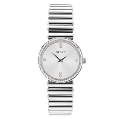 Seksy Ladies Edge Mother of Pearl Swarovski Crystals Watch with Stainless Steel Bracelet