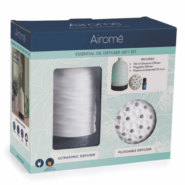 Airome Essential Oil Diffuser Gift Set. Harmony Diffuser, Plug in & Peppermint Essential Oil No Colour