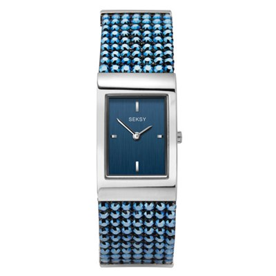Seksy Ladies Blue Dial Watch with Blue Stone Set Bracelet