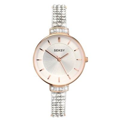 Seksy Ladies Fashion Swarovski Crystals Watch with Stone Set Strap