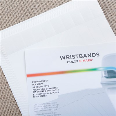 COLOP Wristbands - 10 Sheets and 100 Bands