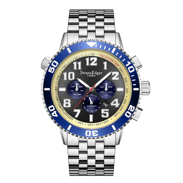 Swan & Edgar Gent's Ltd Ed Grand Sports Automatic Watch with Stainless Steel Bracelet Blue