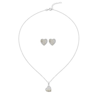 Kasara Single Pave Heart Earring and Necklace Set
