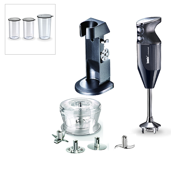 Bamix Deluxe 180W with Stand, 4 Multipurpose Blades and 400ml & 600ml Beakers with Lids Black