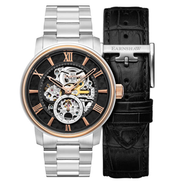 Thomas Earnshaw Gents Ltd Ed Whitehall Automatic Watch with Stainless Steel Bracelet, Extra Strap Black