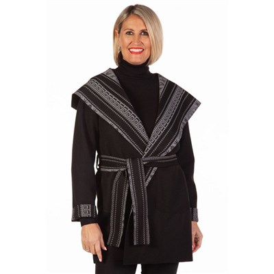 Fizz Black & Grey Aztec Print Belted Jacket with Hood