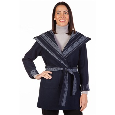 Fizz Navy & Light Blue Aztec Print Belted Jacket with Hood