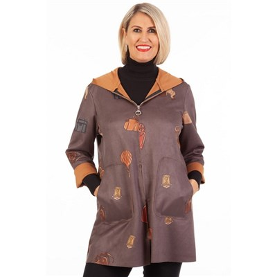 Fizz Dark Grey Handbag Print Hooded Jacket