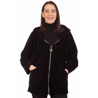 Fizz Black Cord Effect Pearl Zip Hooded Jacket