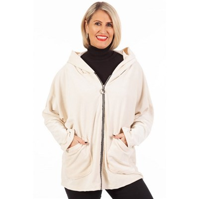 Fizz Ivory Cord Effect Pearl Zip Hooded Jacket