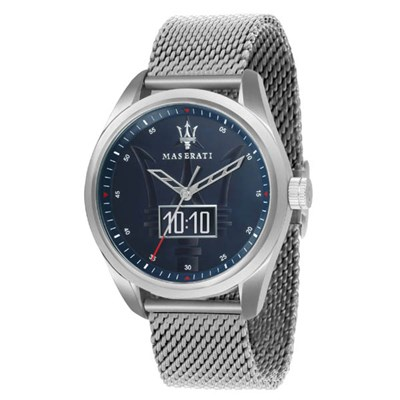 Maserati Gent's Traguardo Smart Blue Dial Watch with Milanese Strap
