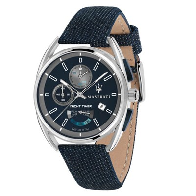 Maserati Gent's Trimarano Yacht Timer Chronograph Watch on Leather Strap