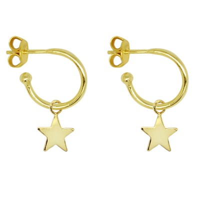 Boho Betty Dushku Star Charm Hoop Earrings