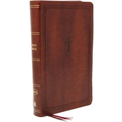 NKJV; End-of-Verse Reference Bible; Compact; Leathersoft; Brown; Red Letter; Comfort Print by Nelson; Thomas