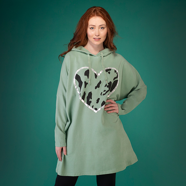 Mudflower Hooded Top with Heart Design Light Green